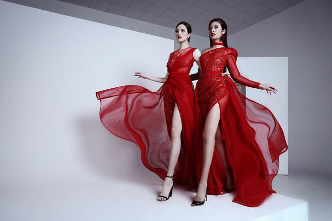 Các thiết kế dạ hội có đường xẻ cao quá đùi giúp Hoa hậu và Á hậu Việt Nam khoe được đôi chân dài cùng vẻ gợi cảm.