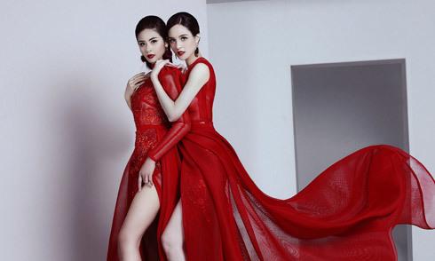 Ngọc Hân, Hoàng Anh khoe chân dài với váy xẻ cao