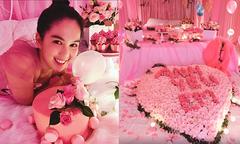 Người yêu tặng Ngọc Trinh căn phòng ngập sắc hồng nhân sinh nhật