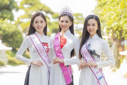 Trần Tiểu Vy diện áo dài đọ dáng với hai Á hậu Phương Nga, Thúy An