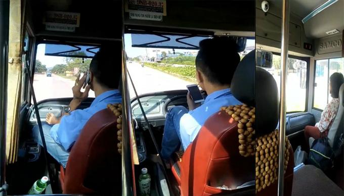 Nam tài xế vắt chân lên vô lăng, lái xe buýt trên quãng đường dài. Ảnh chụp từ video