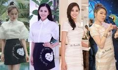 Sao đụng váy tháng 9: Trần Tiểu Vy 3 lần mặc giống các đàn chị