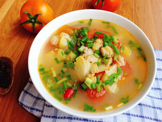 Canh ngao nấu dứa chua ngọt hao cơm