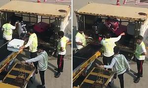 Nhân viên sân bay Hong Kong quăng quật vali của khách