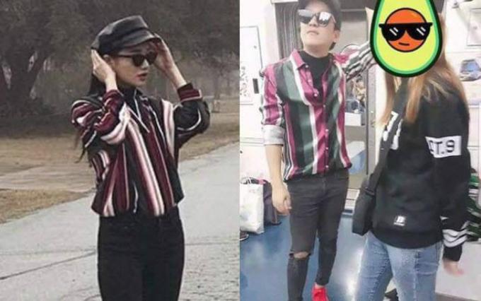 Nhã Phương và Trường Giang bị fan bắt gặp mặc đồ đôi khi đi du lịch ở Hàn Quốc. Hai vợ chồngdiện đồ đôi từ trên xuống dưới với mũ lưỡi trai đen, kính đen, quần jeans màu đen và áo sơ mi kẻ sọc.
