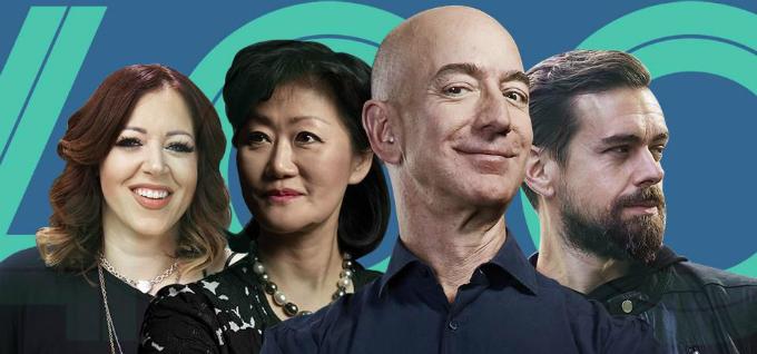 Thành viên câu lạc bộ 2,9 nghìn tỷ USD(từ trái qua phải):tỷ phúLynsi Snyder, Thai Lee, Jeff Bezos (số 1), Jack Dorsey. Ảnh: Forbes.