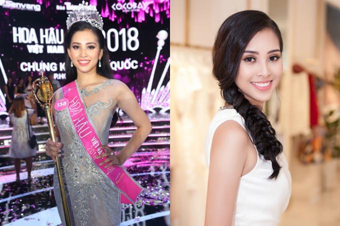 Trần Tiểu Vy đăng quang Hoa hậu Việt Nam 2018 và giành quyền dự thi Miss World tổ chức ở Trung Quốc. Người đẹp 18 tuổi được khen ngợi bởi gương mặt khả ái, hiện đại. Cô cao 1,74m cùng số đo 84-63-90.