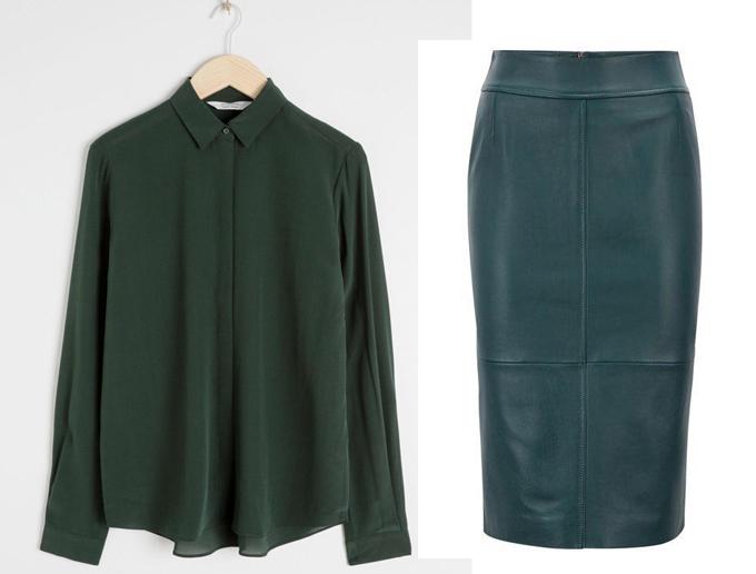 Chiếc áo sơ mi xanh sẫm của Other Stories có giá 69 bảng (hơn 2 triệu đồng), trong khi mẫu chân váy da Hugo Boss tiêu tốn 369 bảng (hơn 11 triệu đồng).