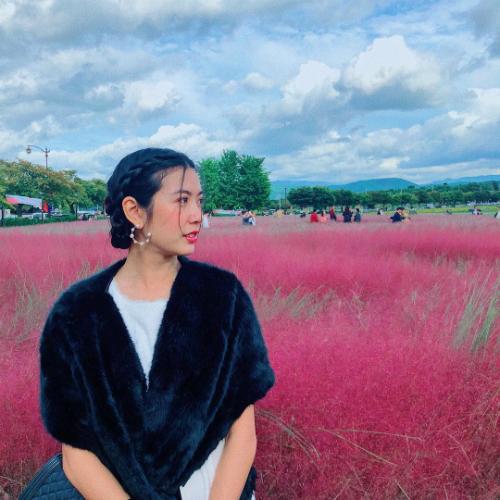 Á hậu Thúy Vân chia sẻ về bức ảnh chụp ở Hàn Quốc:Mùa này thời tiết mát và cảnh thì đẹp ơi là đẹp , chụp mãi không biết chán. Yêu quá đi. Hy vọng năm sau lại có cơ hội đến trình diễn ởGyeongjunữa nhé.