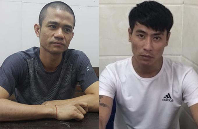 Lê Ngọc Sơn (bên trái) và Hoàng Ngọc Sinh tại cơ quan điều tra.