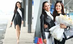 Phương Nga catwalk ở sân bay khi đi thi Miss Grand International