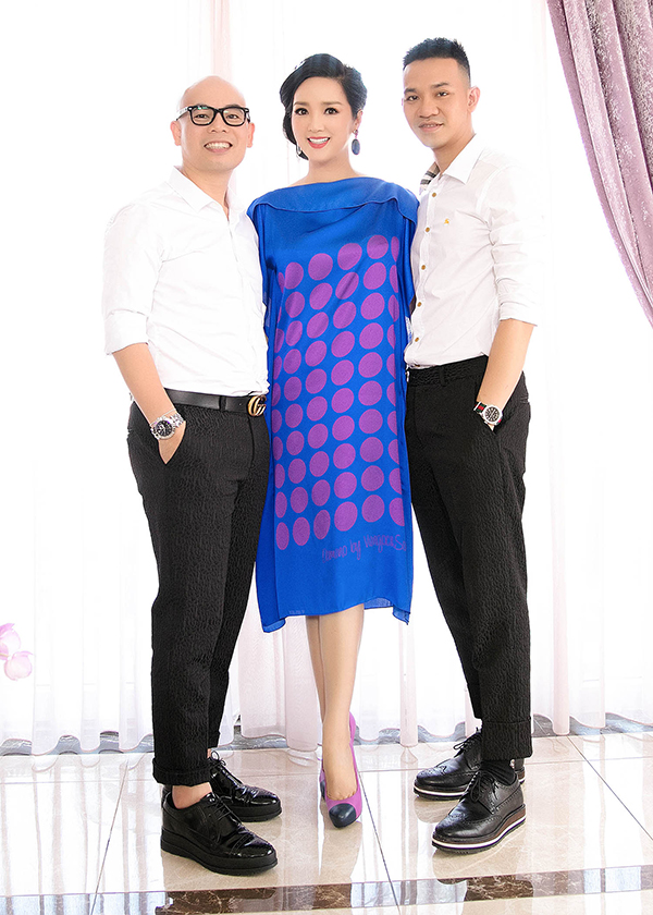 Người đẹp Giáng My cùng hai nhà thiết kế Vũ Ngọc & Son.