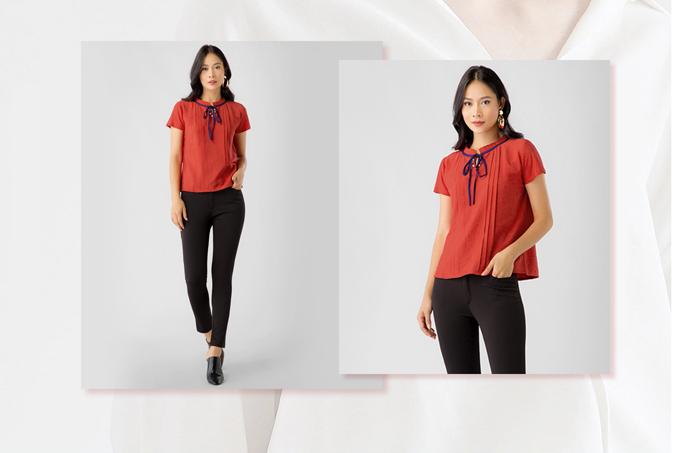 4. Set công sở Eden áo kiểu đỏ + quần tây chất co dãn  Gồm:  1 Áo công sở : Chất liệu đũi mềm mại, thoáng mát. 1 Quần : chất liệu kaki thun