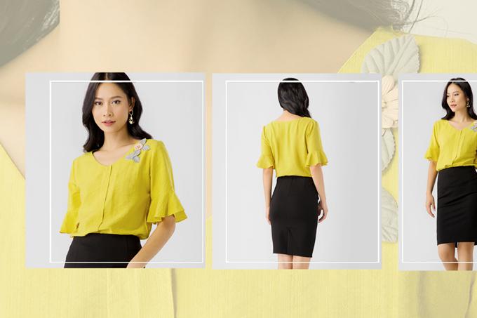 1. Set công sở Eden chân váy ôm đen kết hợp áo kiểu vàng