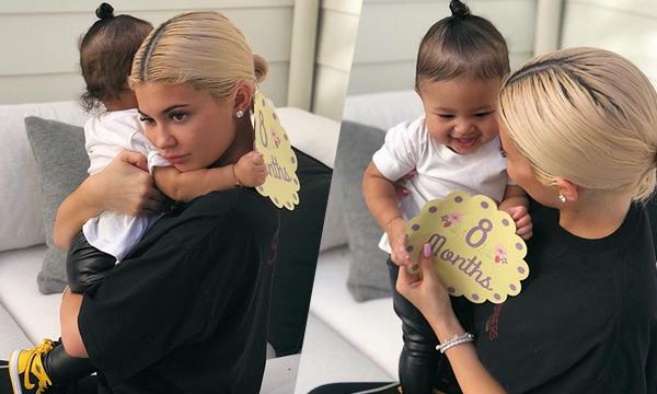 Kylie Jenner chia sẻ hình ảnh con gái tròn 8 tháng tuổi.