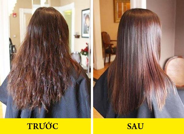 Nếu muốn duỗi thẳng đuôi tóc xoăn mà không có thời gian ra tiệm, hãy dùng 1 thìa bột gelatin trộn với 3 thìa nước