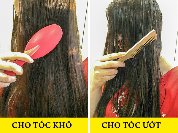 Chọn đúng loại lược giúp hạn chế tình trạng tóc gãy rụng. Khi tóc khô, hãy dùng lược lông nhím
