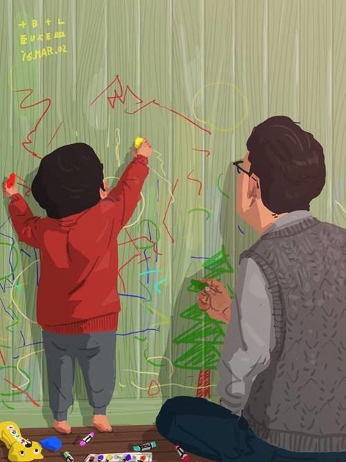 Cho con thoải mái thể hiện sự sáng tạo bằng những bức tranh vẽ trên tường và hướng dẫn con cách vẽ đúng.