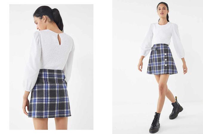 Chân váy kẻ sọc ca rô cũng được biến tấu giữa các kiểu chân váy bút chì ngắn, chân váy chữ A, váy vạt xéo, váy cài nút.