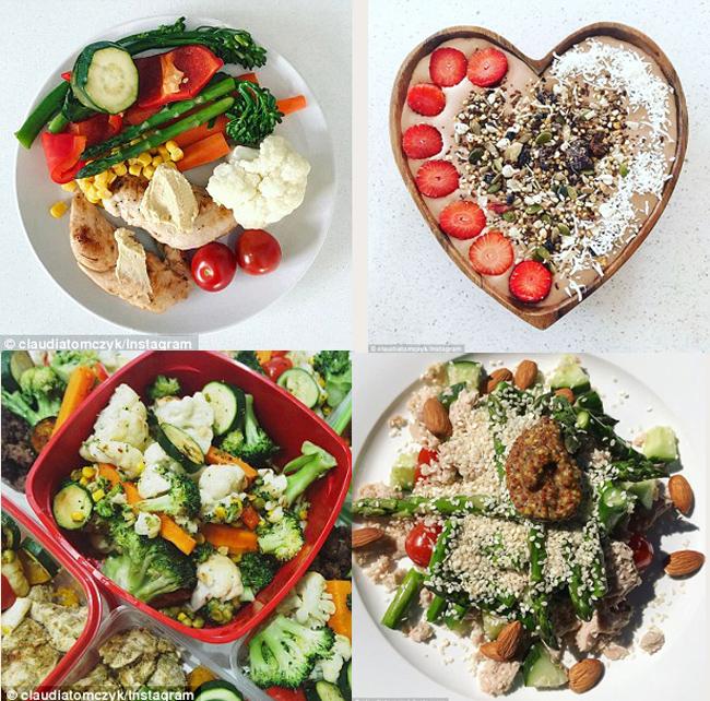 Claudia ăn nhiều rau xanh các loại hạt và tập trung vào các thực phẩm giàu protein để giữ cơ.