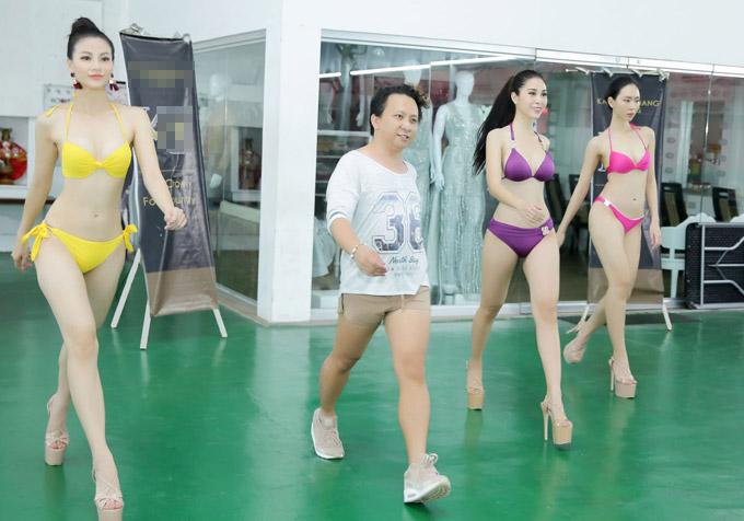 Á hậu Phương Khánh mặc bikini khi tập catwalk thi Miss Earth - 5