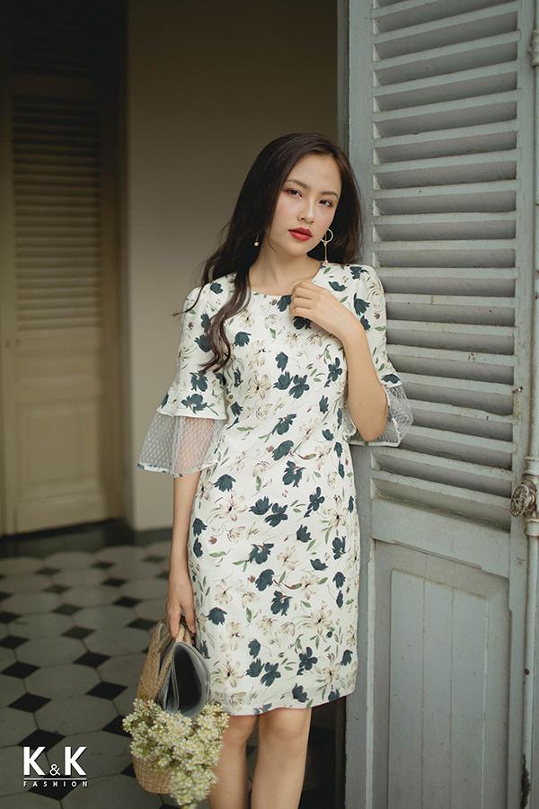 Đầm hoa công sở phối ren KK78-25; Giá gốc: 430.000 VND off 15% - Giá sale: 365.500 VND