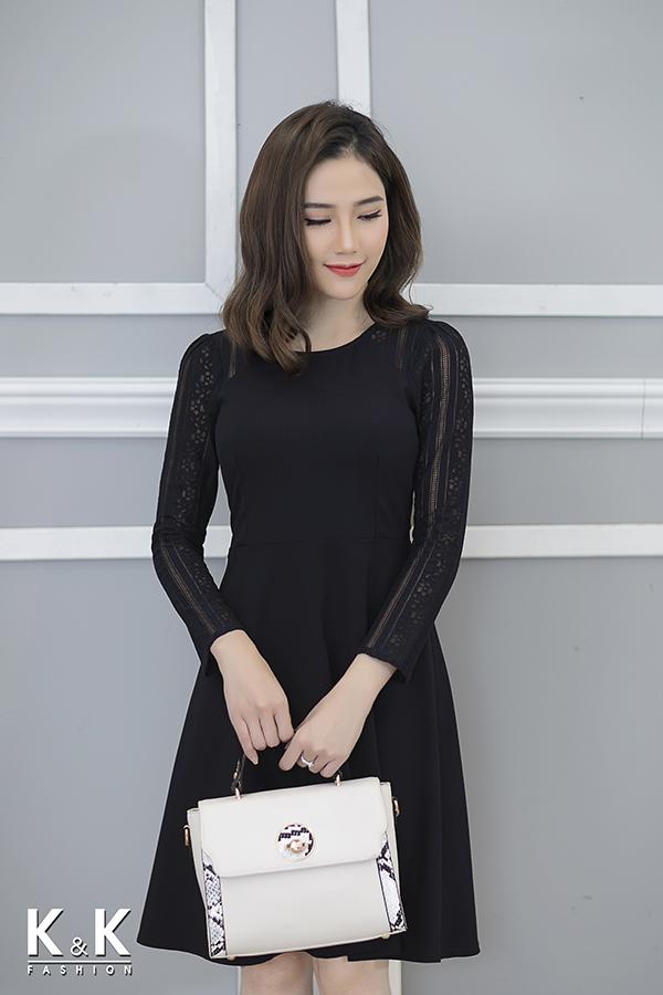 Đầm xòe xanh đen phối ren KK70-50; Giá gốc: 420.000 VND off 50% - Giá sale: 210.000 VND
