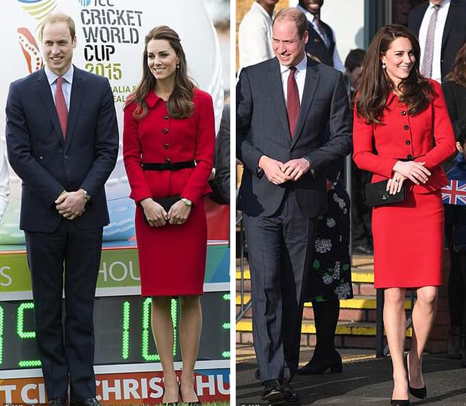 Kate trong bộ váy đỏ yêu thích của Luisa Spagnoli ở Christchurch trong chuyến công du tới New Zealand vào tháng 4/2014, cùng với William trong bộ đồ màu xám đen và cà vạt màu đỏ (trái). Nữ công tước xứ Cambridge mặc lại trang phục của mình trong một chuyến thăm trường tiểu học Mitchell Brook ở London vào tháng 2/ 2017 (phải). Ảnh: WireImage.