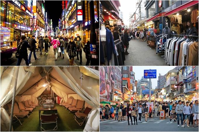 <p> Còn nếu muốn mua sắm nhiều đồ rẻ tiền hơn thì <strong>Myeongdong</strong>, các khu trường Đại học như <strong>Hongdae, Kondae</strong>... là gợi ý không tồi, bởi đây là những nơi tập trung đông du khách nên cảnh quang xung quanh cũng được chú trọng, chắc chắn sẽ không làm bạn thất vọng.</p>