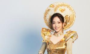 Phương Nga mặc áo dài chim phụng tại Miss Grand
