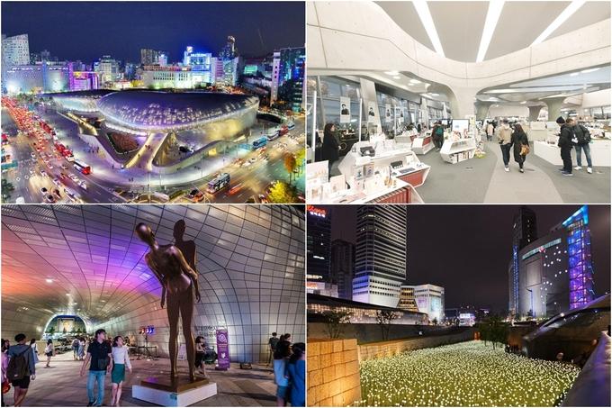 <p> <strong>Dongdaemun Design Plaza</strong> không những là địa chỉ bạn có thể tìm kiếm các kiểu quần áo, nước hoa... handmade đậm chất Hàn mà còn là điểm check-in nổi tiếng với thiết kế hiện đại. Trước cổng là công viên hoa hồng làm từ đèn led lung linh, thắp sáng đến tận đêm khuya.</p>