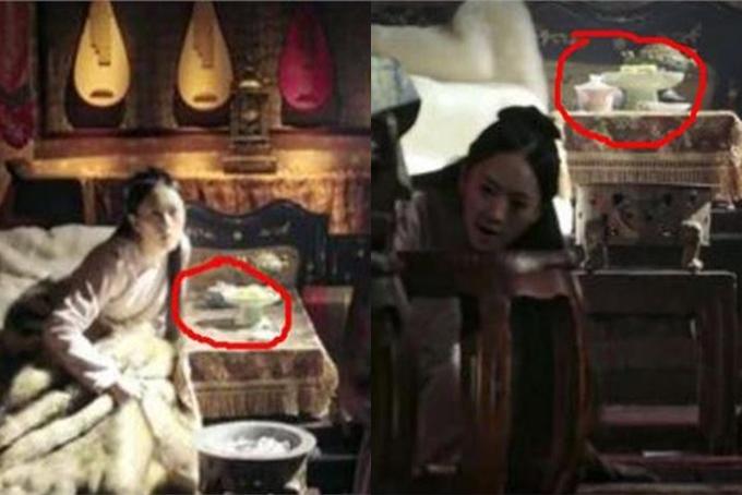 Trong gian phòng của Cao quý phi (Đồng Dao), tách trà đang ở phía sau và khá xakhay bánh bất ngờ di chuyển lên phía trước