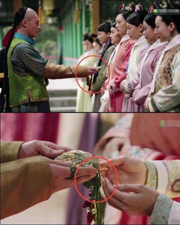 Tập đầu tiên, khi Hoằng Lịch (Hoắc Kiến Hoa) trao túi thơm cho Phú Sát Lang Hoa (Đổng Khiết), vị trí tay hoàng tử so với các sợi dây của túi thơm thay đổi chỉ trong nháy mắt, từ khung hình toàn sang cỡ đặc tả.