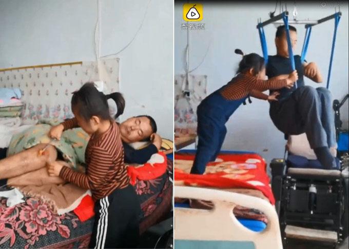 Các video ghi lại cảnh Jiajia chăm sóc cha mang về cho gia đình cô bé số liền 4.000 NDT mỗi tháng.