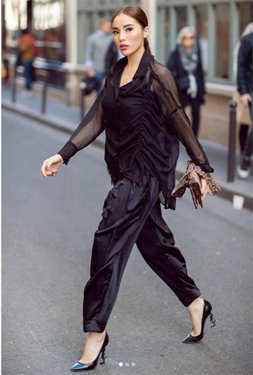 Hoa hậu Kỳ Duyên cá tính trong cây đồ hàng hiệu màu đen.