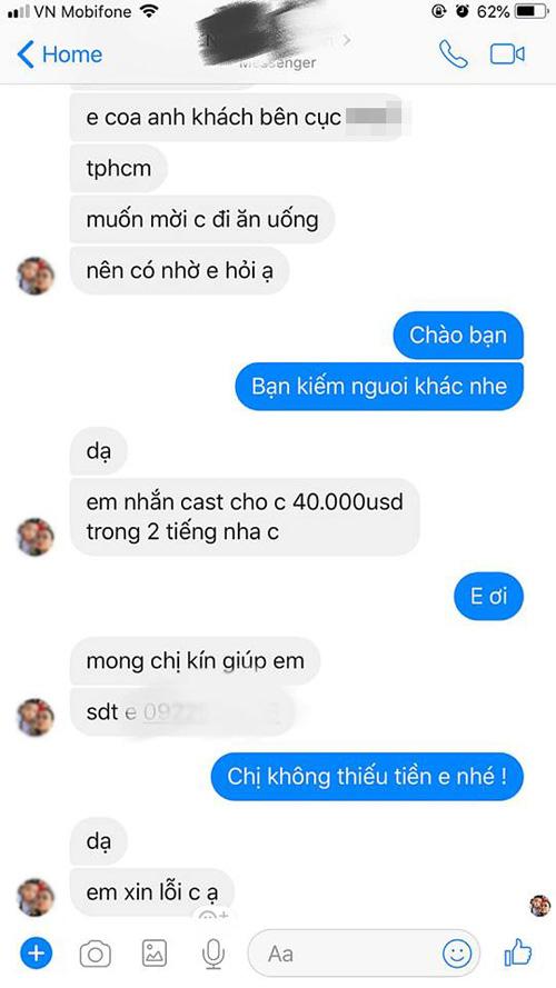 Tin nhắn của người lạ mời mọc Diễm Hương đi tiếp khách.