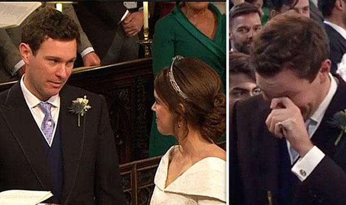 Brooksbank, một thương gia buôn rượu, bật khóc khi thấy cô dâu tiến về phía mình. Ảnh: ITV.