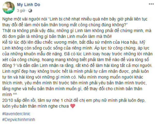 Kết thúc nhiệm kỳ hồi tháng 9, Hoa hậu Đỗ Mỹ Linh lần đầu kể lại áp lực phải gánh vác trong suốt 2 năm đương nhiệm ngôi Hoa hậu Việt Nam. Người đẹp gặp phải không ít khó khăn, từ chuyện làm hài lòng công chúng đến việc giữ gìn hình ảnh.