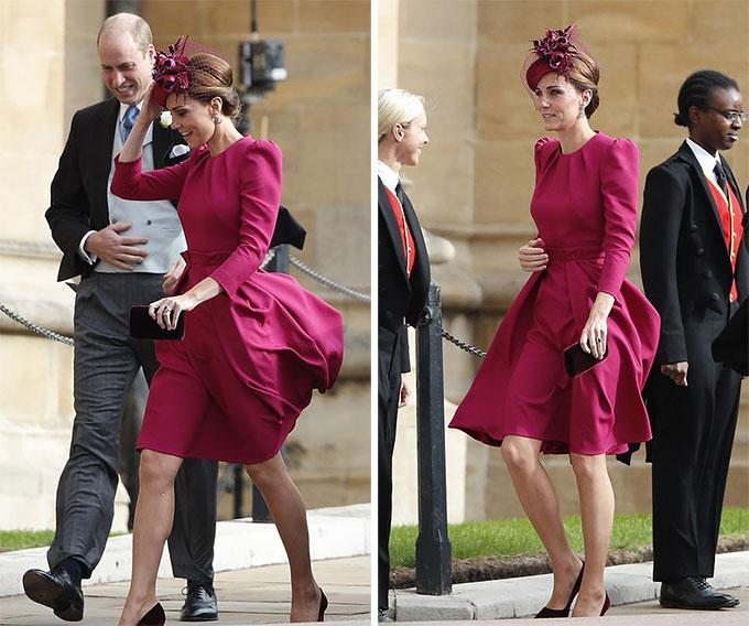 Trước đó, Kate cũng phải vật lộn với con gió khi bước vào trong khu vực nhà nguyện cùng chồng.