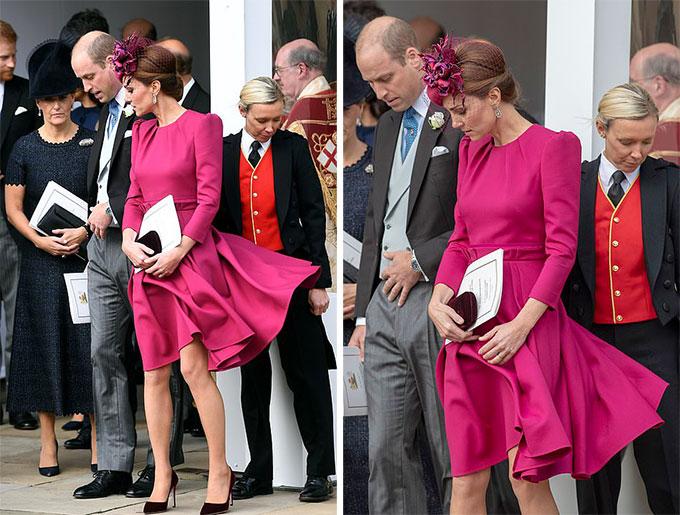 Cơn gió không ngừng đùa bỡn với chiếc váy của Kate khiến cô liên tục phải lấy tay giữ.