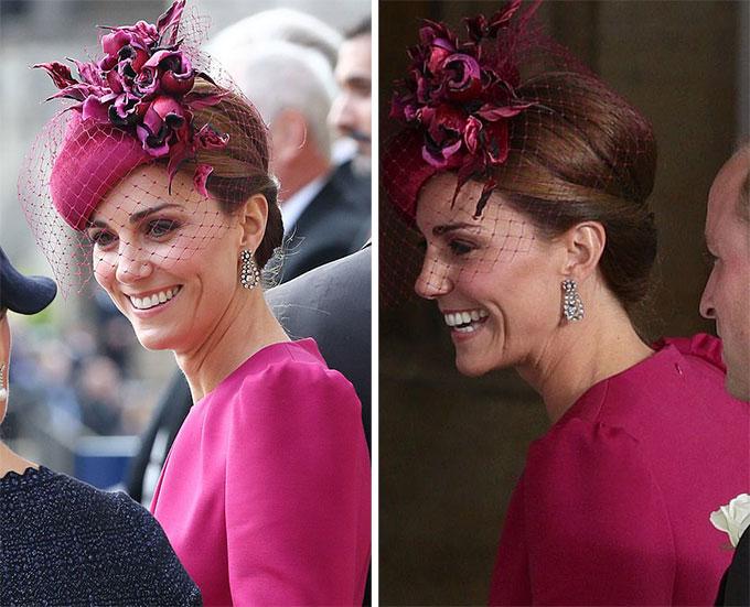 Kate luôn giữ cho tình thần thoải mái và nở nụ cười rộng hết cỡ mỗi khi trò chuyện với các quan khách.