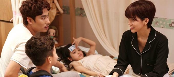 An Nguy và Kiều Minh Tuấn trong phim Chú ơi đừng lấy mẹ con