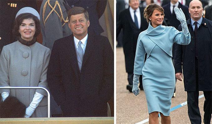 Jackie Kennedy (trái) mặc váy xanh trong lễ nhậm chức tổng thống năm 1961 của ông John F. Kennedy và Melania mặc váy màu tương tự trong lễ nhậm chức tổng thống của Donald Trumpnăm 2017.