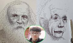 Nam sinh vẽ chân dung các nhà khoa học bằng công thức Hóa học và Vật lý