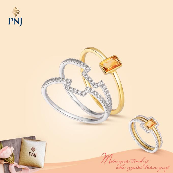 Trang sức gắnthạch anh vàng điểm đá quý lấp lánh với thiết kế ba vòng ghép nối nhau sẽ tạo sự mới mẻ, khác biệt cho chủ sở hữu.