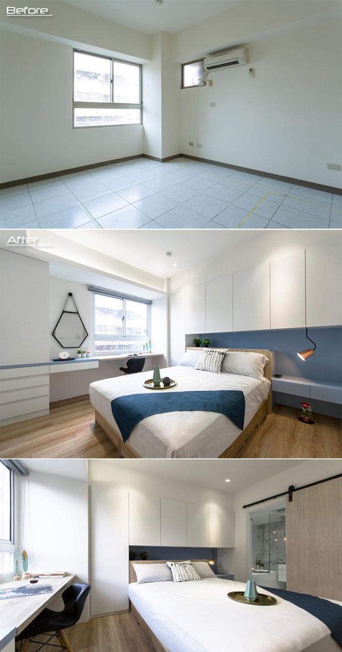 Trắng được chọn là màu chủ đạo trong phòng ngủ nên toàn bộ hệ thống tủ, bàn làm việc, ga trải giường đều mang màu sắc này. Bên cạnh giường là phòng tắm riêng, được che chắn bởi cửa trượt bằng gỗ.