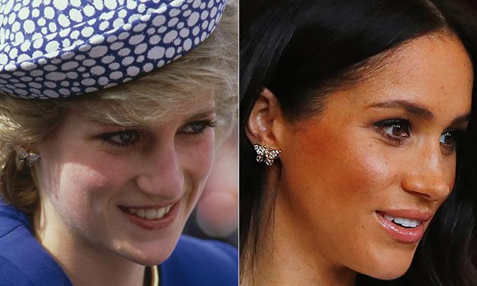 Đôi khuyên tai hình bướm mà Meghan đeo sáng nay từng được bà Diana sử dụng khi đi sự kiện. Ảnh: Hello.