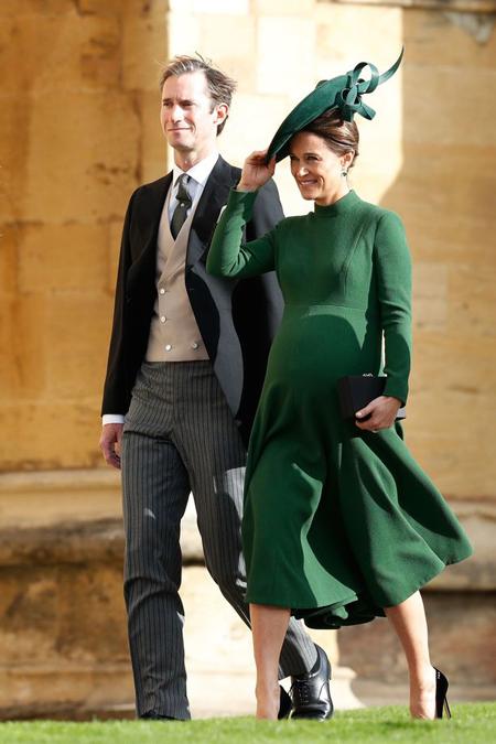 Vợ chồng Pippa xuất hiện ở đám cưới Công chúa Eugenie hôm 12/10 ở Lâu đài Windsor. Ảnh: PA.