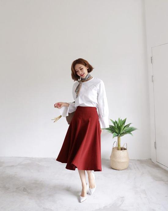 Phối chân váy ka ki hợp mốt mùa thu cho nàng công sở - 10