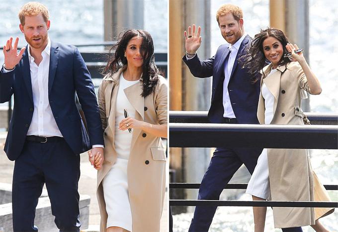 Đây là lần đầu tiên sau hơn 1 tháng qua, Meghan mặc lại trang phục sáng màu. Trước đó, Nữ công tước xứ Sussex thường diện đồ màu đen hoặc xanh navy sẫm cùng áo khoác tối màu để che đi bụng bầu.